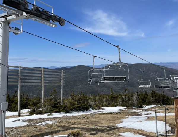The top of Timberline Chairlift at the Sugarloaf summit, seen while hiking Sugarloaf and Spaulding Mountains in Western Maine