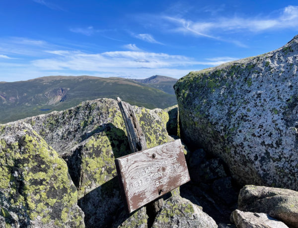 The summit of North Brother and Katahdin in the distance, seen while hiking North Brother in Baxter State Park, Maine